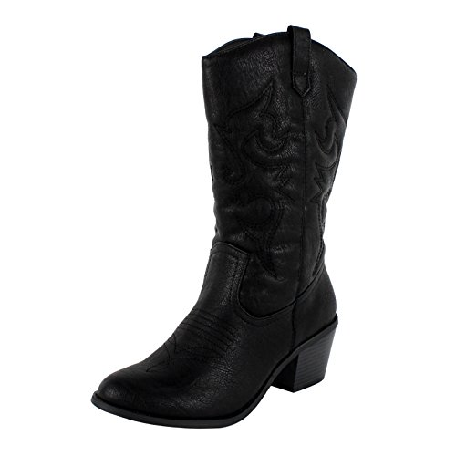 West Blvd Miami Cowboy Western Boots, Black Pu, 11 (Cheap Cowgirl Boots Under 20)