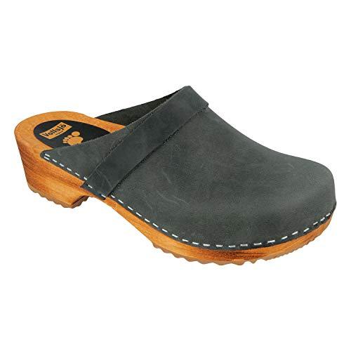 - Vollsjö Men's Genuine Leather Wooden Clogs Made in EU, Suede - Grey,14