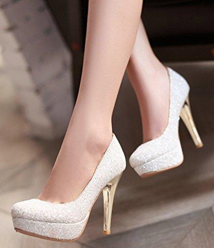 Aisun Femmes Paillettes Sexy Bout Rond Coupe Basse Robe Slip Sur Talons Pompes Plate-forme Porter Au Bureau De Travail Talon Haut Chaussures Blanc