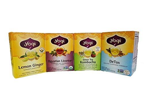 Yogi Tea Set of 4 Variety Pack (Egyptian Licorice, DeTox, Lemon Ginger, Green Tea Kombucha)