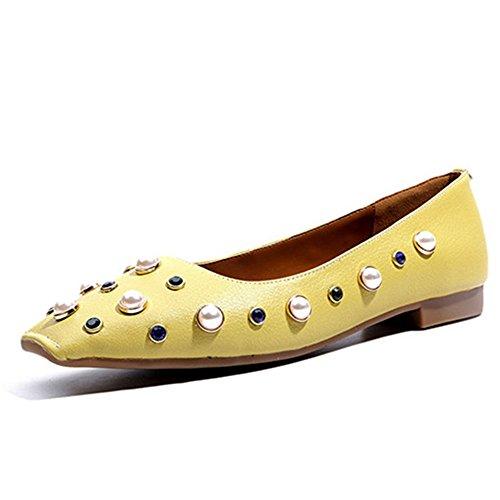 Nove Sette Donne In Vera Pelle Punta Squadrata Piatta Slip On Perle Decorate A Mano Piatta Borchiate Scarpe Gialle