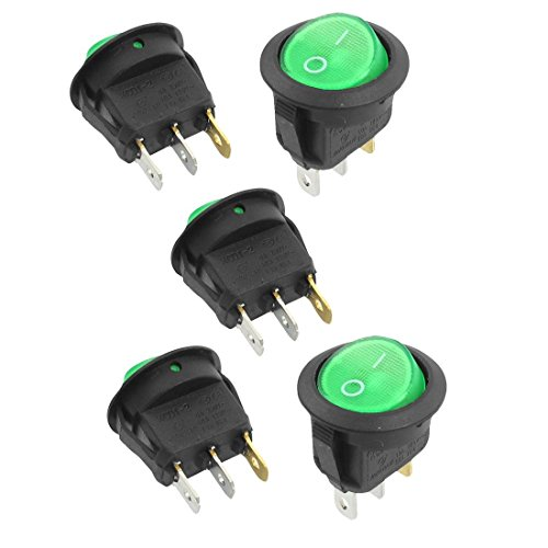 Gfortune 5pcs 3 Pin SPST Green Light On/Off Round Snap in Rocker Switch AC 6A/250V 10A/125V for Household Appliances Controlling Appliance Rocker Switch