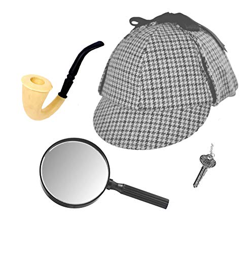 Sherlock Holmes Detective Hat, Pipe, Key & Magnifying Glass Costume Set ()