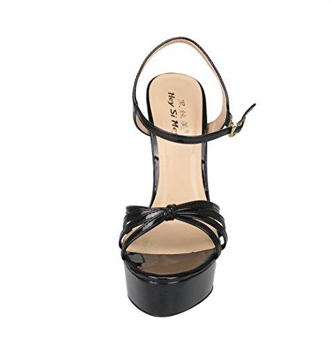 ZPL Women's Sandals High Heels For Women Shoes Platform Ladies Ankle Strap Buckle Stiletto Peep Toe Dress Bridal Party Size 40-48 Black p5bH0J2