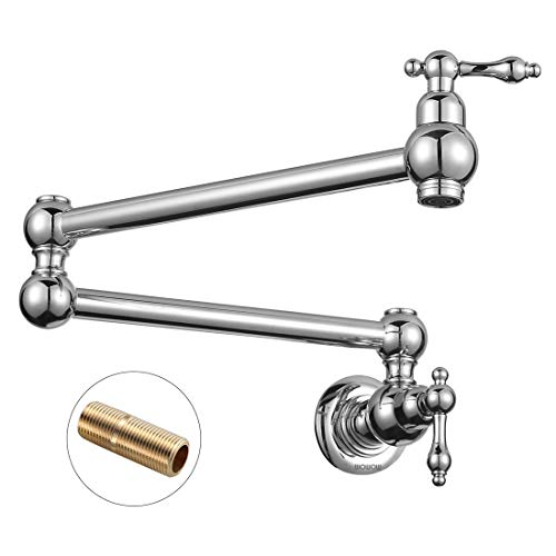 WOWOW Pot Filler Faucet Chrome Commercial Sink Faucet Folding Kitchen Faucet Lead-free Wall Mount Restaurant Faucet Brass 2 Handles Double Joint Swing Arm Kitchen Faucet ()