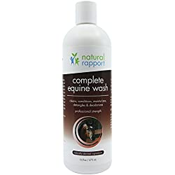 Natural Rapport Horse Shampoo and Conditioner Full Mane and Tail Treatment for Horses, Equine Wash Supplies (16 fl oz.)