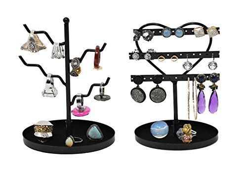 ARAD 3 Tier Heart Shaped Earring and 4 Branch Ring Holder Set ()