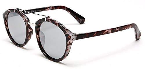 Samba Shades Classic Enzo Fashion Sunglasses with Grey Brown Pattern Frame, UV400 Silver Mirror ()