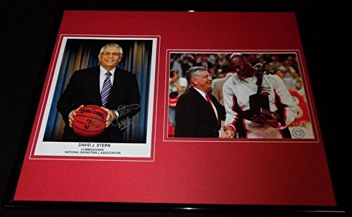 Michael Jordan Signed Display - David Stern Signed Photograph - Framed 16x20 Display w Michael Jordan - Autographed NBA Photos