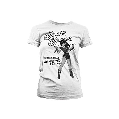 Tee Officially Wonder Pin American up Girly Licensed White Merchandise All Woman p4wazpq