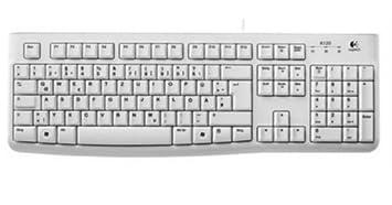 Logitech K120 - Teclado (USB, Office, Estándar, Color blanco, CE,