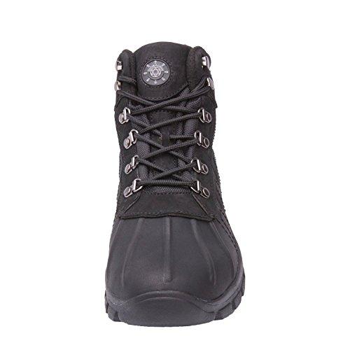 Kingshow Mens M0705 Pelle Resistente Allacqua Suola In Gomma Stivali Da Neve Invernali Black301