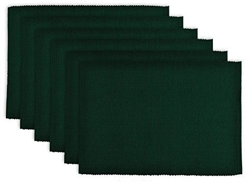 DII 100% Cotton, Ribbed 13x 19 Everyday Basic Placemat Set of 6, Dark Green (Forest Ribbed)