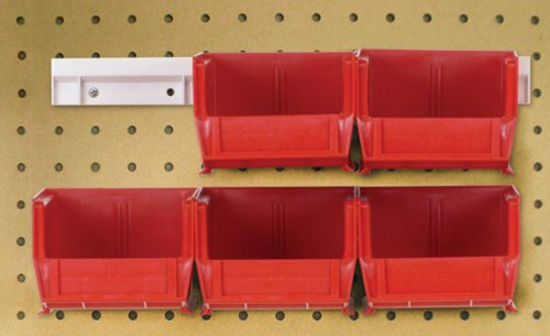 Quantum HNS210RD Hanging Rail System, 5-3/8-Inch Long by 4-1/8-Inch Wide by 3-Inch High, Red, Set of 6 bins and 2 - 2 Hopper Rail