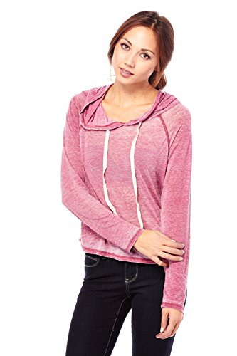 Womens Burn Out Color Long Sleeves Loose Fit Hooded Shirt Top RT13609 (M, Red)