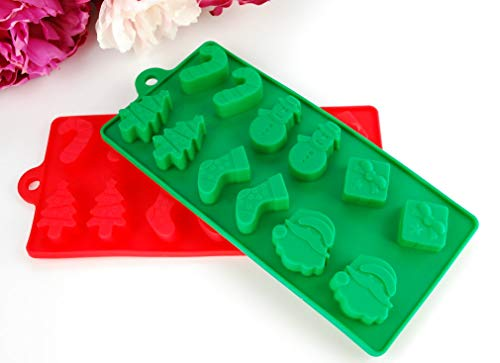 (2-Piece Red/Green Christmas Theme Holiday Chocolate Candy Mold Set Food Grade Silicone for making Chocolate Ice Cube Gummy Candle Soap Candy or Frozen treats present Santa Christmas Tree Stocking Snow)
