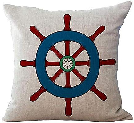 Almohada de sofa Funda de cojín Funda de almohada de algodón de estilo marino azul Fundas de almohadas decorativas caseras para sofá,45 * 45cm: Amazon.es: Bebé