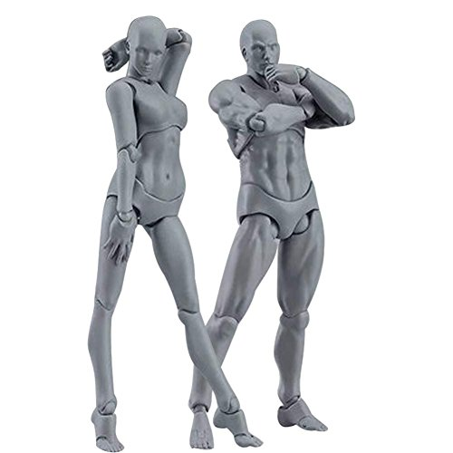 Tulas 2 Pcs/Set Action Figure Model, Human Mannequin Man /Woman Action Figure Equitment with Accessories Kit,Suitable for Sketching, Painting, Drawing, Artist, Kids, Cartoon Figures Action by Tulas (Image #2)