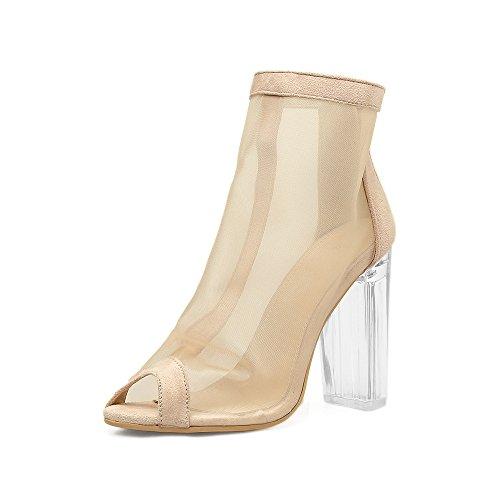 hilados una sandalias de como apricot de transparentes pescado La de gruesos tacón alta con ZHZNVX boca zapatos hembra ultra 0wgq4vO