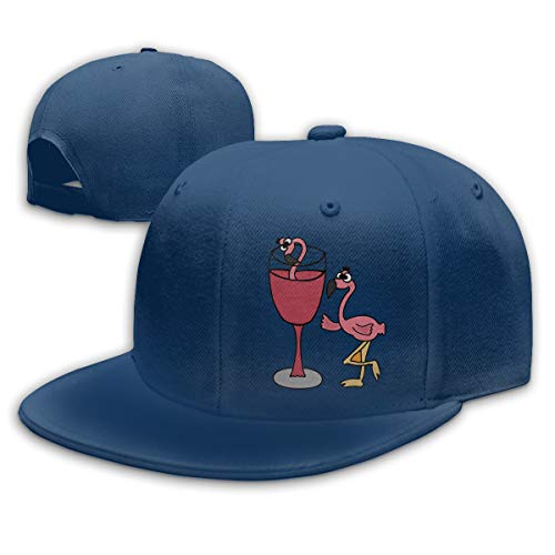 Aiguan Pink Flamingo in Blush Wine Glass Flat Visor Baseball Cap, Designed Snapback Hat Navy
