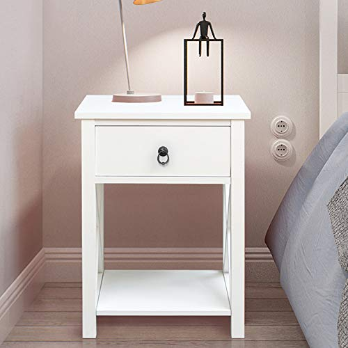 (SSLine Wooden Nightstand with Drawer/Shelf White Finish Bedside End Table Sofa Chair Side Tables for Bedroom Living Room Storage Organizer)