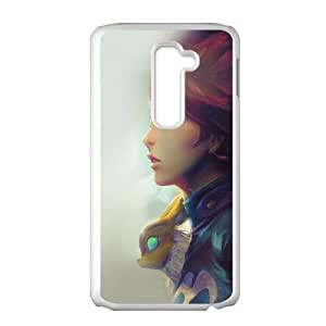LG G2 Cell Phone Case White am98 girl illust anime art paint fly red hair JNR2139425