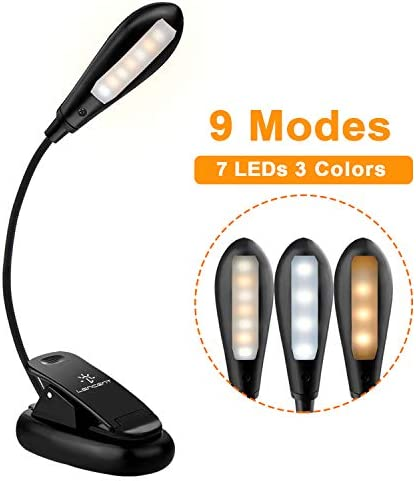 LENCENT USB Rechargeable 7 LED Book Light, 9 Modes (Warm & White LEDs) Clip Reading Light for Beds, LED Clip on Lamp Built in Battery for Reading Books, Magazine and etc [USB Cable Incl]