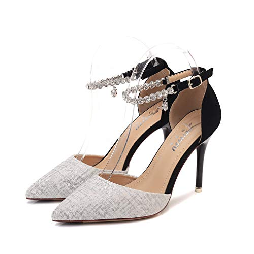 Womens Pumps,Pleated Soft Leather Pointed Toe 9CM Heel Sexy Party Pumps Ladies Work Shoes