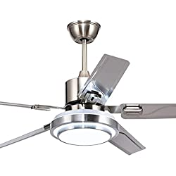 Andersonlight 48-Inch Modern LED Ceiling Fan 5 Stainless Steel Blades and Remote Control 3-Light Changes Indoor Mute Energy Saving Fan Chandelier for Home Decoration