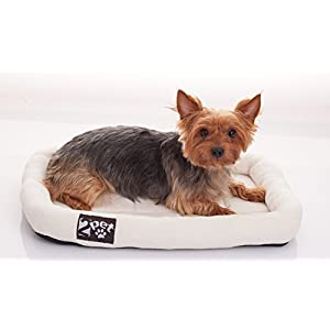 2PET Soft Padded Fleece Pet Bed by Cushy Bed All Season Crate Pad for Your Pet's Comfort Double Fleece Filling for Better Cushioning Waterproof, Easy to Clean Sturdy Border for Head Support20 x 14