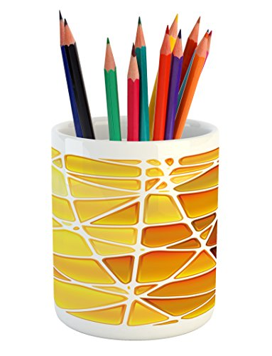 Snake Ombre (Ambesonne Yellow Pencil Pen Holder by, Snake Animal Skin Like Design Geomerical Shaped Ombre Colored Image, Printed Ceramic Pencil Pen Holder for Desk Office Accessory, Marigold Yellow and White)