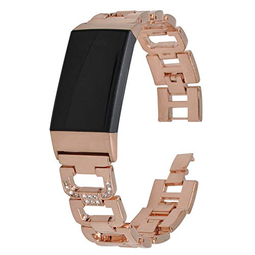 - Bling Strap for Fitbit Charge 3, Jewelry Premium Wristband Metal Bracelet Bands for Fitbit Charge 3 Assesories Adjustable Bands Strap for Fitbit Charge 3 (Rose gold-01)