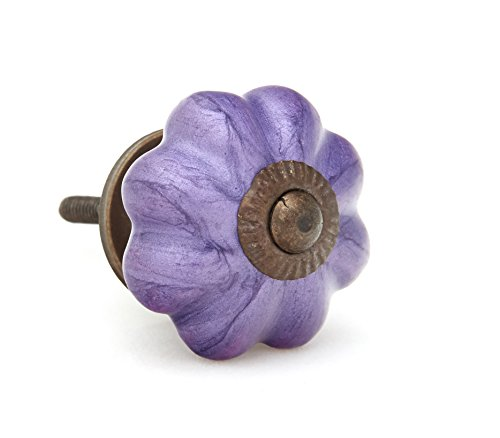 Neon Purple Pumpkin Shaped Ceramic Drawer Pull, Cabinet (Purple Pumpkin)