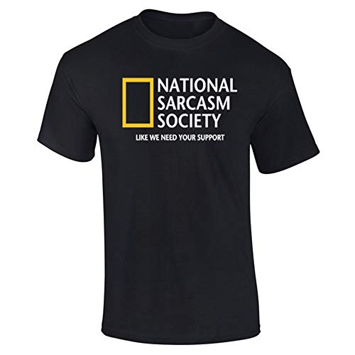 Mens National Sarcasm Society Geographic Parody Funny T-Shirt Black