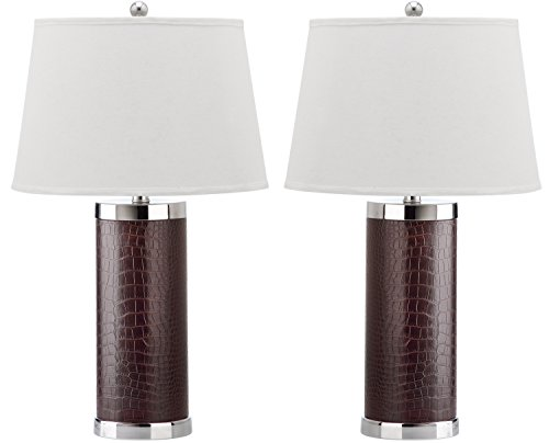 Safavieh Lighting Collection Leather Column Croc Brown 26-inch Table Lamp (Set of 2) (Lamp Rectangular Table Leather)