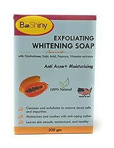 BeShiny - Jabón brillante para la piel con vitaminas de papaya Kojic acido glutatión, antiacné, antienvejecimiento, 200 g para iluminar manchas ...