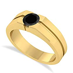 (1.00 ctw) 14k Yellow Gold Men's Black Diamond Solitaire Ring
