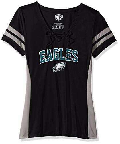 OTS NFL Philadelphia Eagles Women's Poly Lace Up V-Neck Tee, Weber, Medium