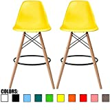 Cheap 2xhome – Set of Two (2) – Yellow – 28″ Seat Height Chair Style DSW Molded Plastic Bar Stool Modern Barstool Counter Stools with Backs and armless Natural Legs Wood Eiffel Legs Dowel-Leg