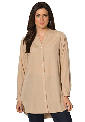 Jessica-London-Womens-Plus-Size-Crepe-Tunic-With-Mandarin-Collar