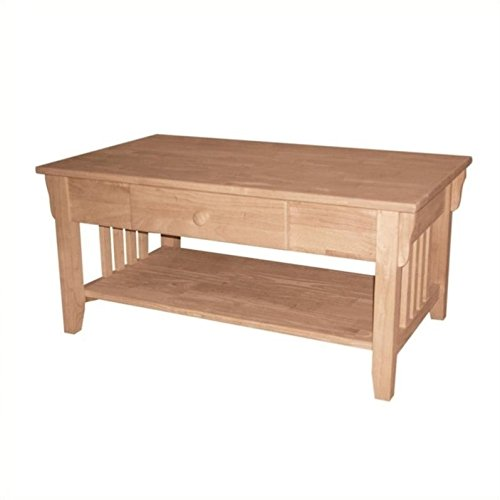 Unfinished Mission Coffee Table - Pemberly Row Unfinished Mission Coffee Table