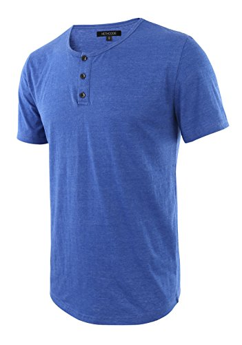 HETHCODE Men's Classic Comfort Soft Regular Fit Short Sleeve Henley T-Shirt Tee Heather Blue XL