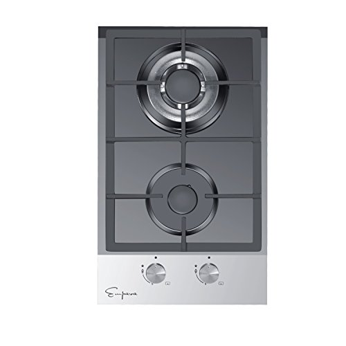 "Price comparison product image Empava 12"" Tempered Glass 2 Italy Sabaf Burners Stove Top Gas Cooktop EMPV-12GC027"