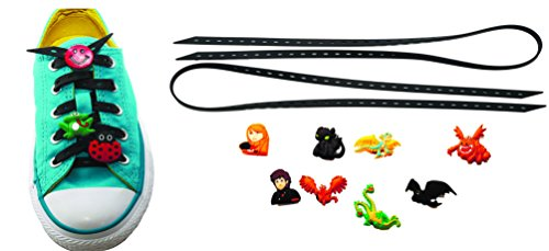 [AVIRGO Universal Lazy No Tie Silicone Shoelace Rubber Elastic Slip Sneaker Shoe Laces Running Shoelaces Athletic Elastic Shoelaces with 8 pcs Buckles Adjustable Size Black Set # 56 -] (Kids Toothless Night Fury Costumes)