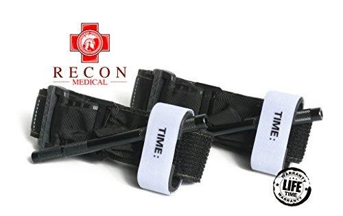 Tourniquet - (Black) Recon Medical Gen 3 Mil-Spec Kevlar Metal Windlass Aluminum First Aid Tactical Swat Medic Pre-Hospital Life Saving Hemorrhage Control Registration Card 1 Pack