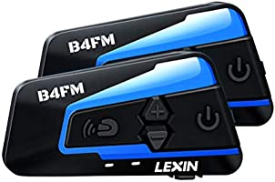 LEXIN 2pcs B4FM Motorcycle Bluetooth Intercom with FM Radio, Motorcycle Helmet Bluetooth Headset Communication With Noise...