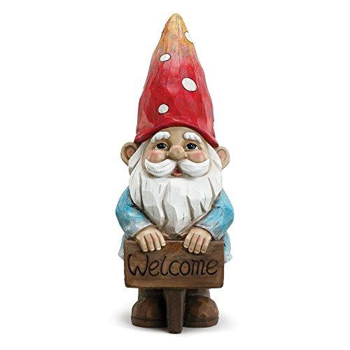 Napco Welcome Smiling Gnome Cherry And Pale Blue 5 x 14 Resin Stone Garden Figurine (Stone Gnomes Garden)
