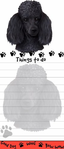 E&S Pets Magnetic Die-Cut Notepad, Poodle, Black