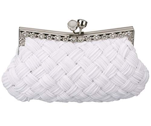 Charming Tailor Evening Bag Women Classic Clutch Woven Wedding Party Purse (White)