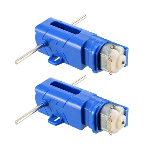 uxcell Micro DC Geared Motor Model Hexagon Double Out Shaft 1:28 Deceleration Box Blue 2PCS for RC Car Robot Model DIY Engine Toys House Appliance (Hexagon Shaft)
